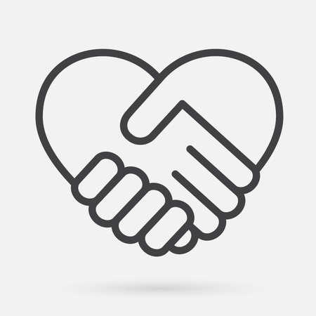 Ikona uścisk dłoni serca