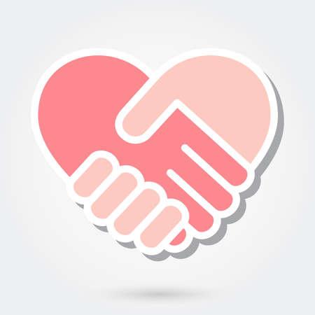 Heart shaped handshake icon