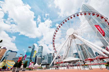 Hong Kong - May 16 2018 : The Hong Kong Observation Wheel at the New Central Harborfront, Central District, Hong Kong.