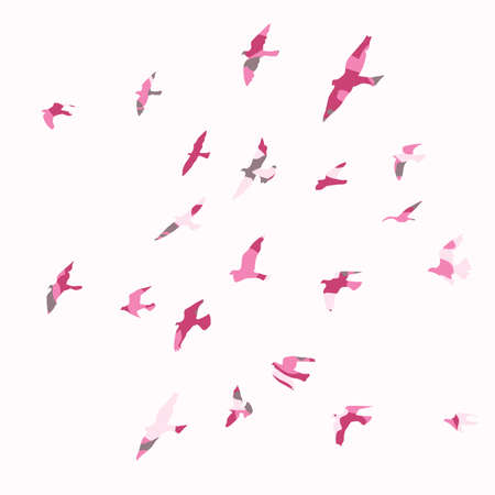Silhouette of a flock of flying birds Archivio Fotografico - 126860759
