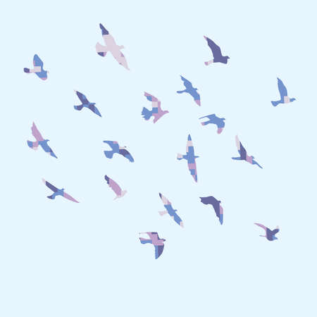 Silhouette of a flock of flying birds Archivio Fotografico - 126945226