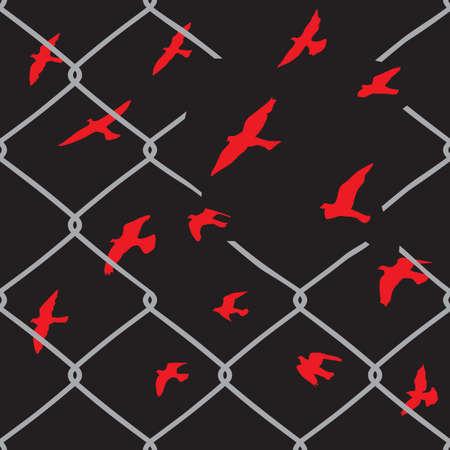 Birds flying over broken barbed wire