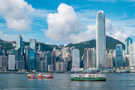 Skyline van Hong Kong en Victoria Harbour