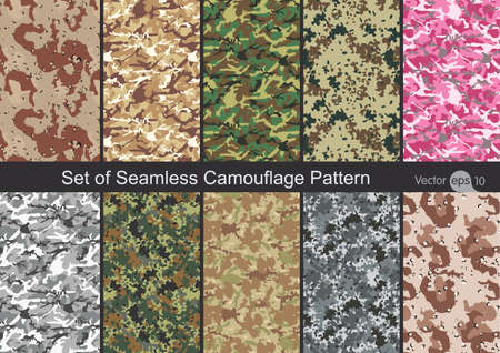 Set of Seamless Camouflage Pattern Vector 일러스트