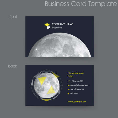 Modern Black Card with Moon Business Card Template