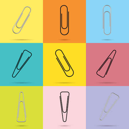 Stationary colorful paper clips background