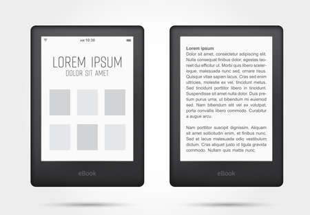 Reading books on ebook tablet. Vector