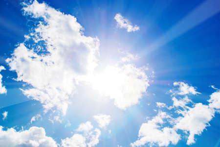 Shining sun at clear blue sky