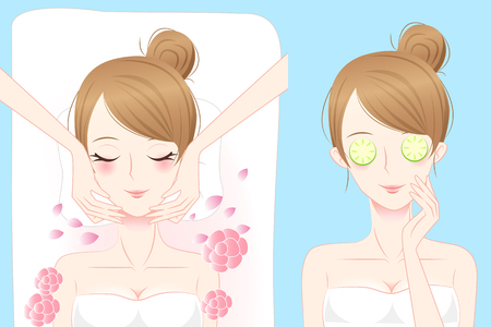 woman lying in bed: cartoon woman enjoy do spa and feel happily
