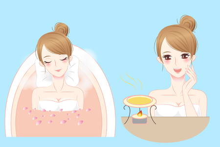 cartoon woman enjoy do spa and feel happily