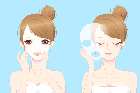 woman smile: cartoon beauty skin care woman smile and use mask