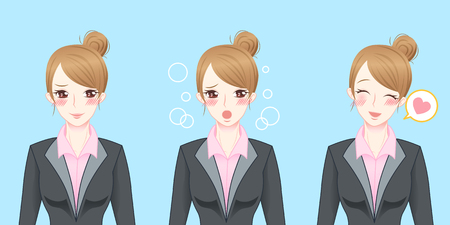 cartoon business woman feel shy and happy