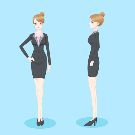 beauty cartoon businesswoman smile and look to you