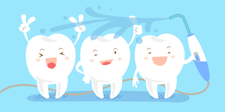 cute cartoon teeth take in the bath happily