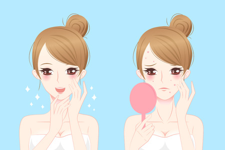 pimples: cartoon woman with acne before and after
