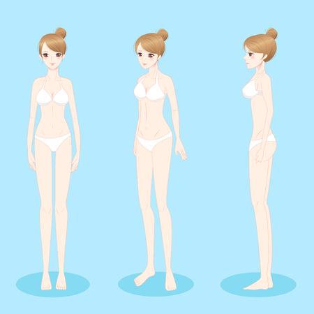 beauty cartoon woman stand and wear bikini Çizim