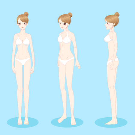 beauty cartoon woman stand and wear bikini Illustration