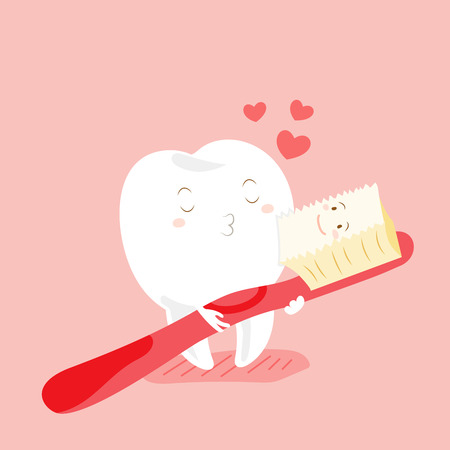 cute cartoon teeth and toothbrush with happy valentine day Çizim