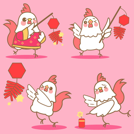 firecracker: cartoon chicken with firecracker for happy chinese new year firecracker Illustration