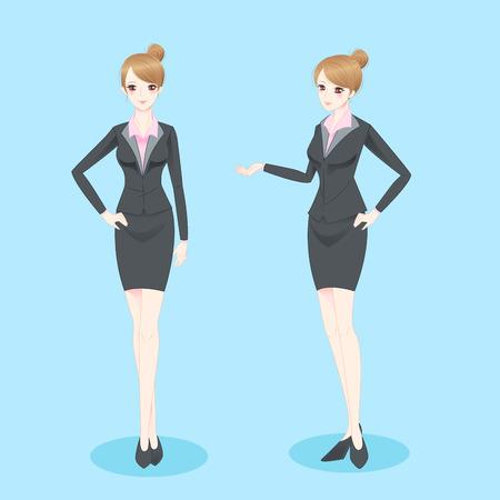 la donna di affari del fumetto di bellezza mostra qualcosa a voi Vettoriali