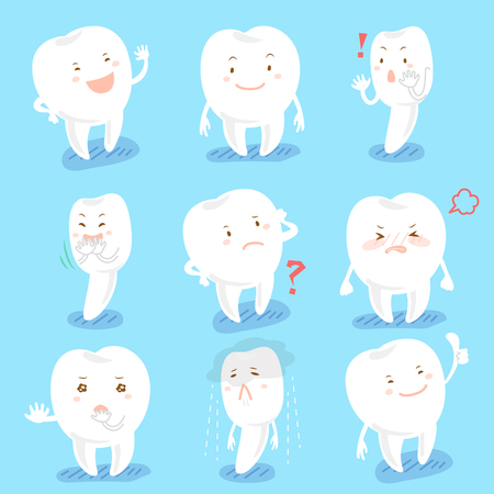 cute cartoon tooth do many different emoji