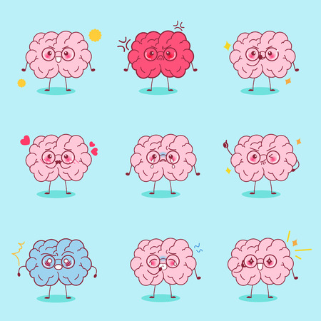 cute cartoon brain express all kinds of emotions Illustration