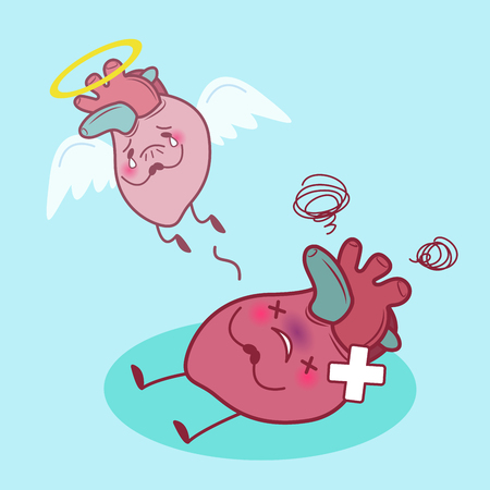 cartoon heart dead and sick with blue background Illustration