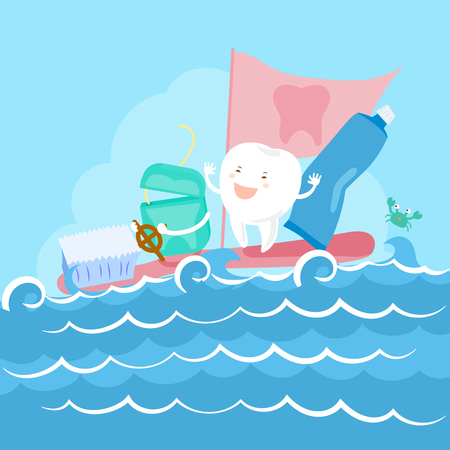 baby sick: cartoon tooth and floss on the sea