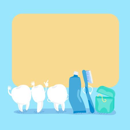 cute cartoon tooth and floss hold billboard