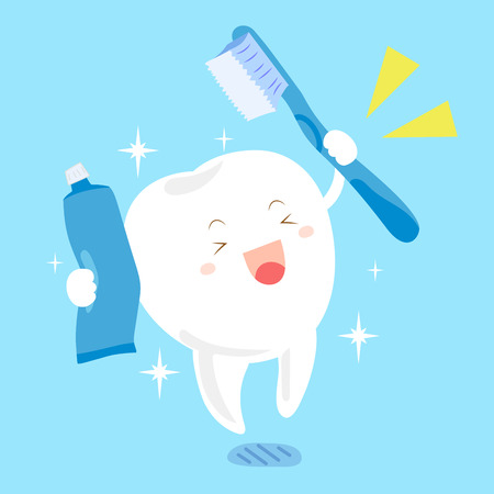 cute cartoon tooth with toothbrush and toothpaste