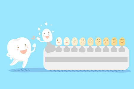 bleached:  cute cartoon tooth high five with tooth color palette