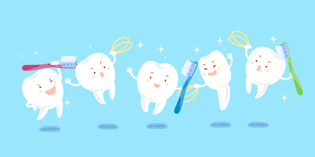 cute cartoon tooth playing tooth brush and dental floss Illustration