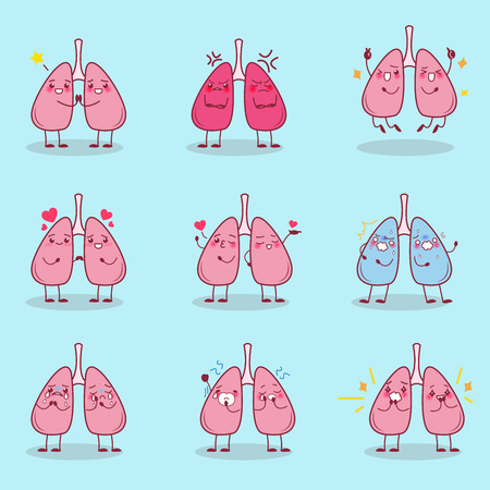 cute cartoon lung is do different emotion