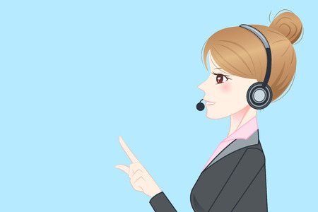 headset business: beauty cartoon business woman wear phone headset and show something to you
