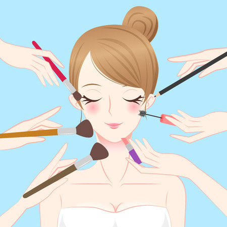 cartoon beauty make up woman with blue background