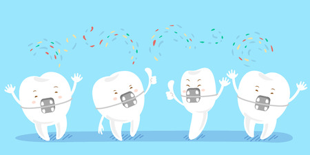 cartoon tooth wear brace and show thumb up to you