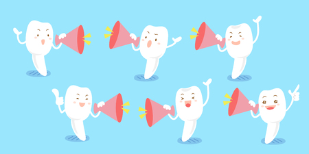 cute cartoon milk tooth take loudly and feel happily