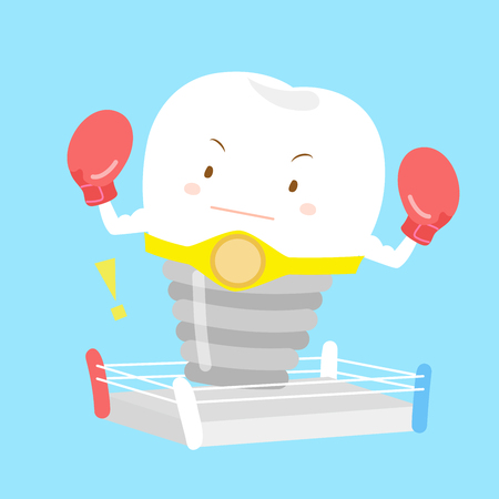 doctor gloves:  cute cartoon tooth with boxing for your concept