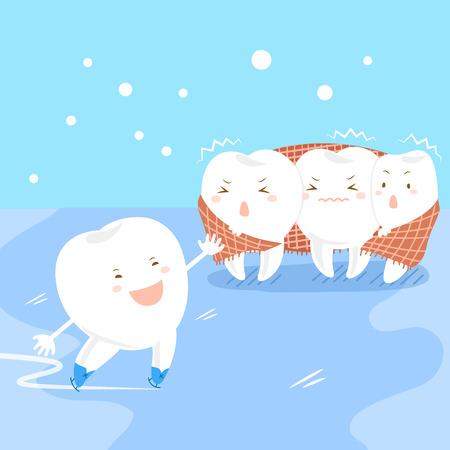 diente de dibujos animados lindo está patinando y otros se sienten fríos Ilustración de vector