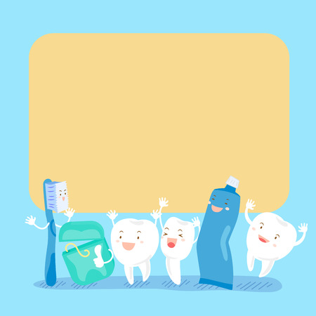 baby sick: cute cartoon tooth and floss hold billboard