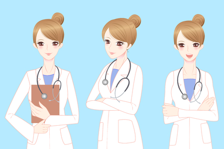 beauty smile: beauty cartoon woman doctor smile to you