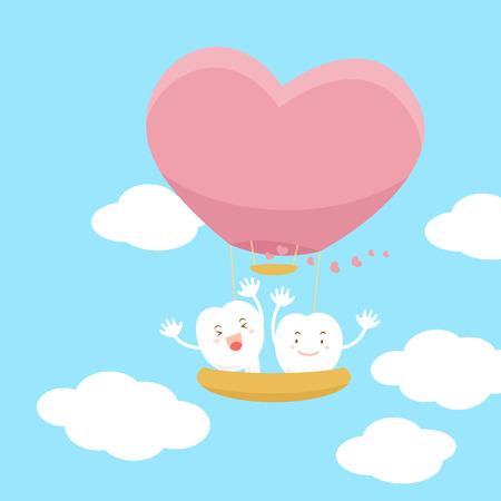 귀여운 만화 치아와 심장 뜨거운 공기 풍선 일러스트