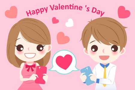 cellphone: cute cartoon couple use cellphone with love heart