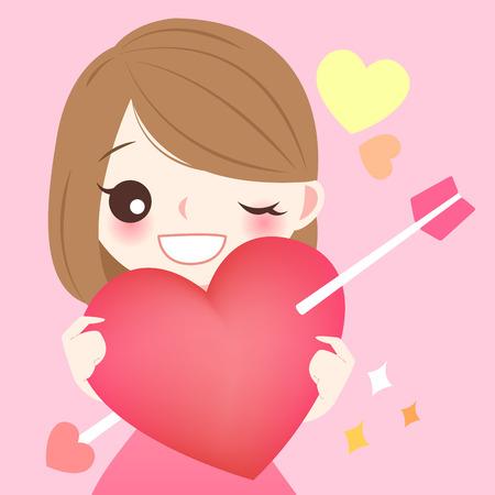 귀여운 만화 소녀 잡아 붉은 마음에있는 화살표 일러스트