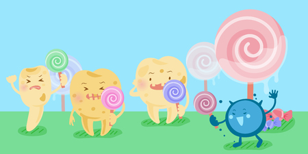 Cartoon decay tooth problem with candy and bacterium.