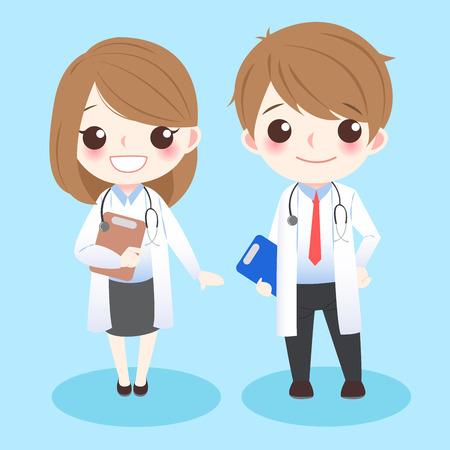 Los doctores lindos de la historieta se colocan y le sonr Ilustración de vector