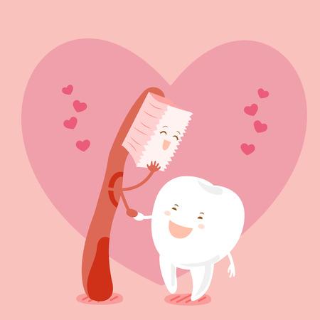 schattige cartoon tand en penseel met hart