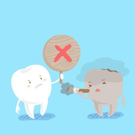 cute cartoon tooth with refusal to smoke