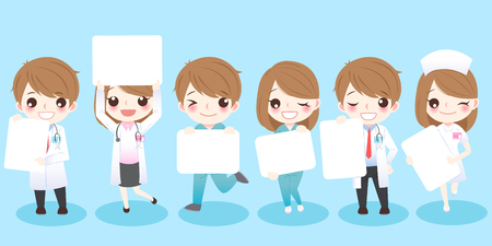 Cute cartoon doctors take billboard and smile to you. Stok Fotoğraf - 71557097