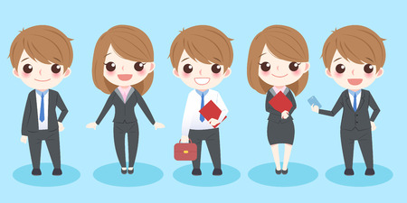 people: cute cartoon business people smile to you